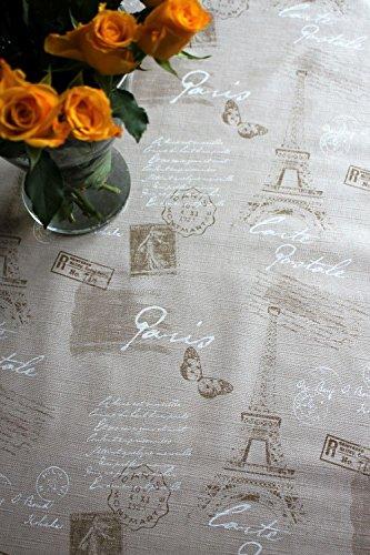 Paris design, lusso, beige, in rilievo, tovaglia in tela cerata, facile da pulire, 140x 200cm