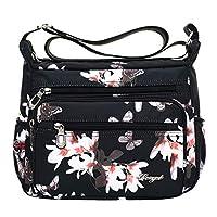 lailongp Nylon Crossbody Purse for Women, Travel Shoulder Bag Multi Pocket Messenger Handbag