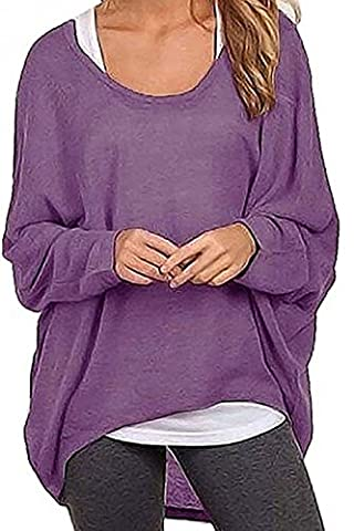 Baggy Damen Oberteil ZJCTUO Lose Asymmetrisch Sweatshirt Pullover Bluse Oberteile Oversized Tops T-shirt (EU36/S, Lila)