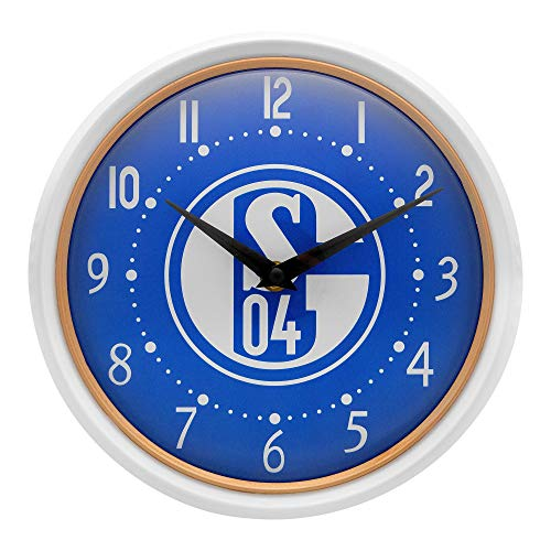 FC Schalke 04 - S04 - Wanduhr - weiß/königsblau - 22cm - Fanartikel - Bundesliga - Uhr - Logo -