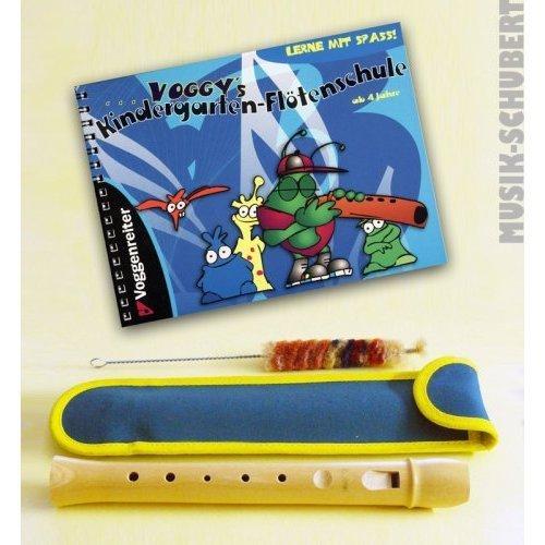 Kindergarten-Flöten-Set -- Fünfloch-Blockflöte (g-e) aus Bergahorn inkl. Tasche und Wischer und Voggy's Kindergarten-Flötenschule - das beliebte Lernheft für Kinder ab 4 Jahre