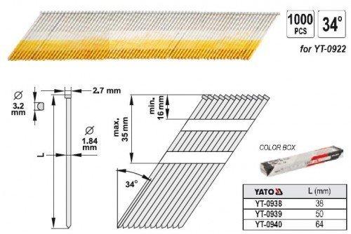 Yato YT-0940 Clous de 34 x 64 x 1,9 mm