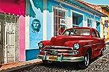 Carta da parati Cuba decorazione Oldtimer auto macchina L'Avana patrimonio mondiale Red Car La Habana Vieja città Che Guevara I Fotomurales by GREAT ART (210 x 140 cm)