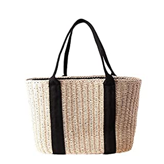 Womens Hand-woven Straw Tote Bag Toto Retro Summer Straw Beach Bag Shopping Basket Bags Top-Handle Handbag for Daily Using Working/Shopping/Beach Vacation/Outdoor Activities (Beige)