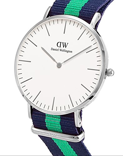 Daniel Wellington Warwick Silver Men's Quartz Watch with White Dial Analogue Display and Multicolour Nylon Strap 0205DW