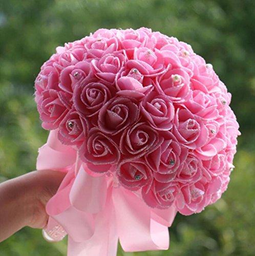 Tt & Hunli Bridal Fournitures De Mariage / Fleurs / Roses Artificielles / Fleurs De Mariée / Rouge, Rose, Blanc Laiteux, Pink Pink