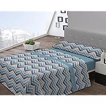 Juego de sábanas de coralina BERET Javier Larrainzar Cama 135 cm Azul - Sedalinne