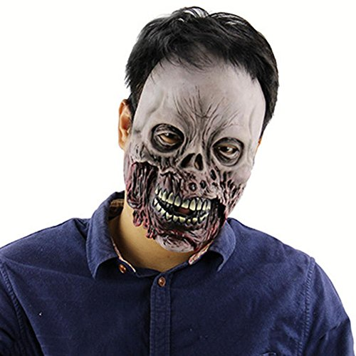 (Ksruee Halloween Faul Zombie Horror Schädel Maske Scary Spukhaus Room Escape Dress up Latex Haube)