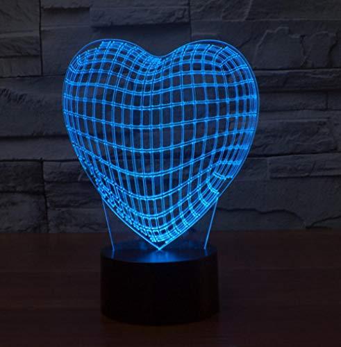 Joplc 3D Liebes Lampe Asia Globe Herz LED NachtlichtSchalter Dekoration Kreative Lampe