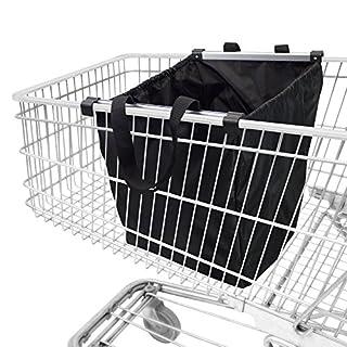 achilles Easy-Shopper Alu, Faltbare Einkaufswagentasche, Einkaufstasche passend für alle gängigen Einkaufswagen, schwarz, 54x35x39 cm