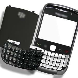 Original Genuine OEM BlackBerry Curve 3G 9300 Housing Faceplate Fascia Plate Panel Cover Case Repair Replace Replacement+Keyboard Keypad+Battery Back Door