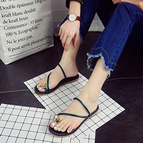 Flache Sandalen Frauen Diamant Klippzehesandelholz flach mit Sätzen von toe Sandalen und Pantoffeln Sommer neuen europäischen und amerikanischen minimalistischen Flip Green