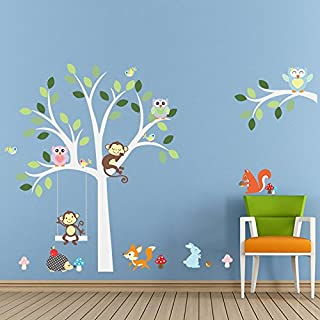 AWAKINK Cartoon Animals Owls Monkeys Mushrooms Trees Wall Stickers Removable Wall Decal for Girls and Boys Nursery Baby Room Children's Bedroom