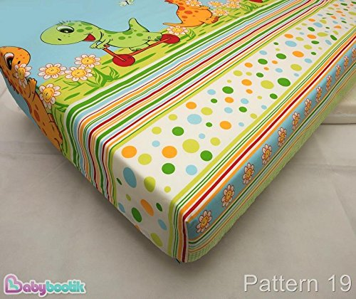 COTTON FITTED SHEET 60x120cm (in favorite fabric pattern/design) – Dino Green