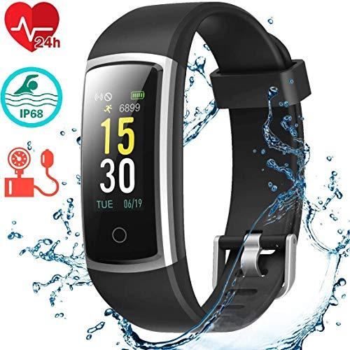 Imagen de smart technic pulsera de actividad reloj inteligente ip68 impermeable reloj deportivo para hombre y mujer, con rtmo cardíaco, presión sanguínea, sueño monitor, contador y calorías para android y ios