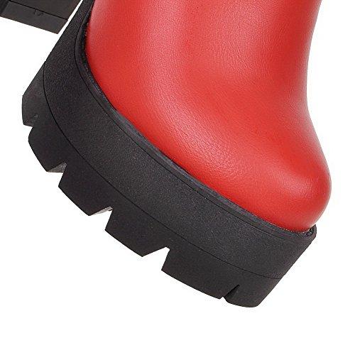 VogueZone009 Donna Cerniera Punta Tonda Tacco Alto Luccichio Bassa Altezza Stivali con Catene Rosso