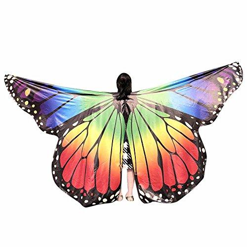 Faschingskostüme Schmetterling Schal Kinder Kostüm Schmetterlingsflügel Pixie Halloween Cosplay Schmetterlingsf Butterfly Wings Flügel LMMVP (Mehrfarben A Größe: 235 * 170CM)