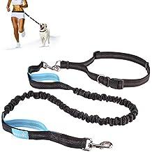 Correas Perros Mascotas Manos Libres con Cinturón y Estuche de Cremallera Estirable y Amortiguador de Chouque 1.5M (Azul y Negro)
