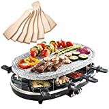 VonShef 8 Person Natural Stone Raclette Grill with Variable Temperature Control includes 8