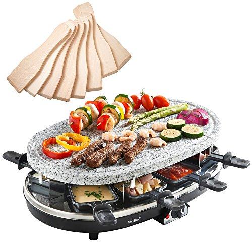 VonShef Raclette Grill aus Naturstein für 8 Personen - mit flexibler Temperaturregelung, 8 Pfännchen & 8 Racletteschiebern