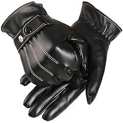 Malloom® guantes piel, hombres lujo PU cuero invierno súper conducción guantes calientes cachemira