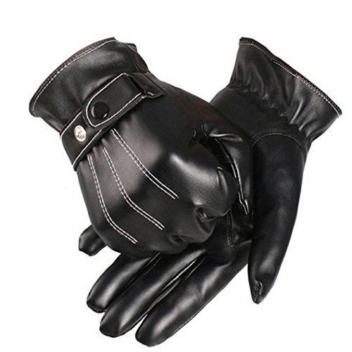 Malloom® guantes piel, hombres lujo PU cuero invierno súper conducci