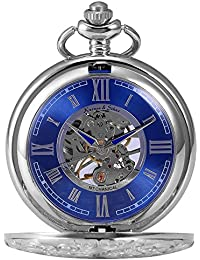 KS Reloj de Bolsillo con Cadena Hombres antiguos Steampunk Esqueleto Mecánico con Caja de Regalo color
