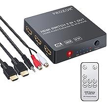 HDMI Convertidor 3x1 HDMI Switch con Extractor de Audio Salida Analógica Óptica Toslink SPDIF Soporte 4K 3D con Cable HDMI de Cable Remoto IR Cable USB y 3.5mm Macho a 2 Cables Hembra RCA Para Blu-ray