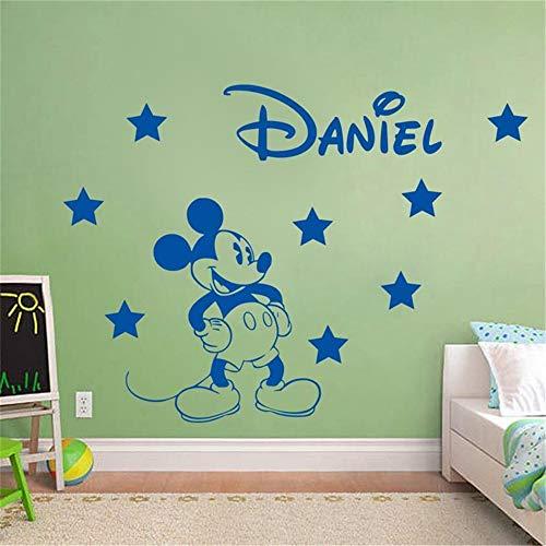 Wandtattoo Kinderzimmer Wandtattoo Schlafzimmer Mickey Mouse Wandaufkleber Aufkleber personalisiert Boy Name Mickey Mouse mit Vinyl Wandaufkleber Kindergarten Kinderzimmer dekoriert Schlafzimmer - Disney Boy Wandtattoos