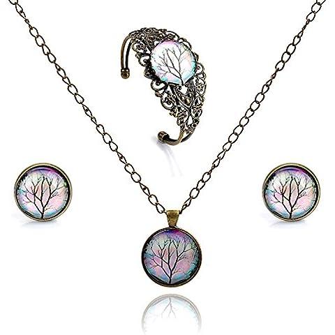 Lureme tempo orecchini pendenti a disco serie gioiello prigioniera del fiore cava braccialetto aperto bracciale e collana pendente set gioielli per le donne e le ragazze (09000458) (ramo di un albero)