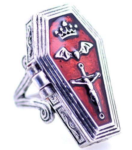 Lizzyoftheflowers-Unheimlicher Sarg-Ring, Silber, Sarg öffnet sich, bewahren Sie etwas Besonderes darin auf