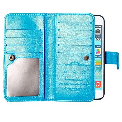 Galaxy 6 Plus Hülle, iPhone 6S Plus Hülle,iPhone 6 Plus/ 6S Plus Hülle Ledertasche Brieftasche im BookStyle, SainCat PU Leder Wallet Case Folio Schmetterlings Rosen Relief Muster Schutzhülle Prägung M Blau