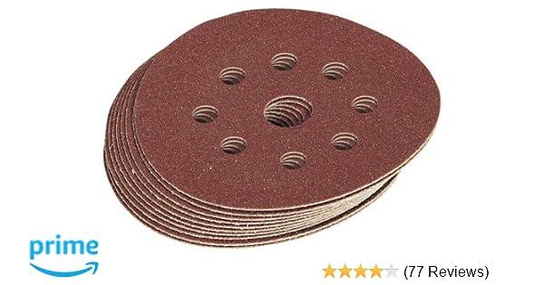 10 x Hook /& Loop Sandpaper 125mm Discs Punched Very Fine 180 Grit For Sander