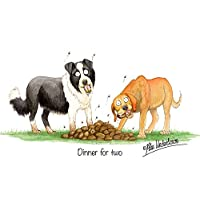 """Dog Greeting Card""""Dinner for Two"""" by Alex Underdown"""