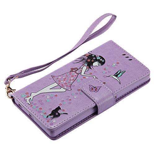 Xperia Z5 Hülle Flip-Case Premium Kunstleder Tasche im Bookstyle Klapphülle mit Weiche Silikon Handyhalter Lederhülle für Sony Xperia Z5 Luminous Mädchen Katze case Hülle +Stöpsel Staubschutz (8) 4