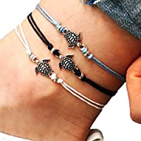 CHENPU 3PCS Women Anklet Chain Turtle Shape Ankle Bracelet Boho Beach Sandal Barefoot Charm Foot Jewelry