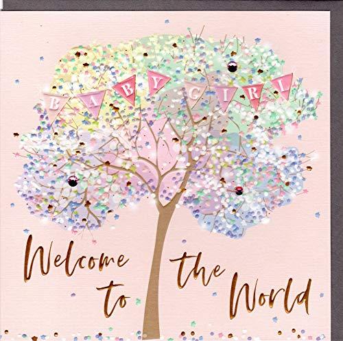 Belly Button Designs hochwertige Glückwunschkarte zur Geburt eines Mädchen aus der neuen Elle Serie mit Prägung, Folie und Kristallen BE077