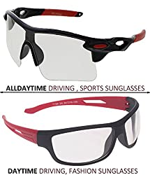 Vast Combo Of 2 All Day Vision Biking, Driving And Sports,Fashion Unisex Sunglasses (BLKREDWHITE,BLACKRED)