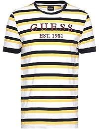 ea53292e0d09 Guess Striped Crew Neck White Navy Yellow T-Shirt M92I66K8500