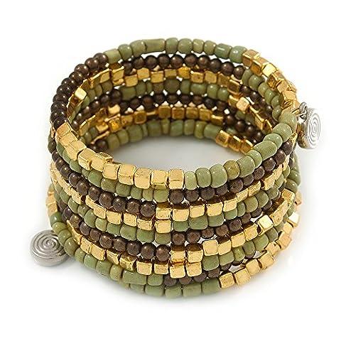 Dusty Light Green Glass, Brown & Gold Tone Acrylic Bead Coiled Flex Bracelet - Adjustable