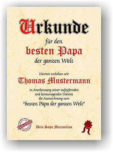 Unbekannt certificato per il miglior papà del mondo – strumento regalo per compleanno, natale, festa del papà