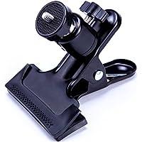 """EZARC - Soporte de clip para cámara de fotos con soporte láser, base giratoria con bola de tornillo de 1/4"""" para nivel láser de línea, cámara de fondo de estudio SLR, Réflex Digital"""