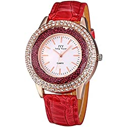 JIANGYUYAN® Womens Rhinestone Rose Gold Case Quartz Watches with Purple PU Leather Strap and Lucky Rolling Balls #274305