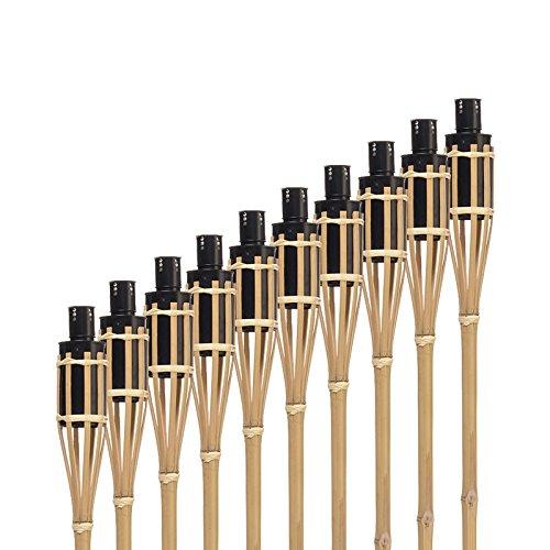 Bambus Gartenfackel Hussala Turin Öl Bambusfackeln, Nachfüllbar, Länge 100 cm Garten-Fackeln - 10 Stück