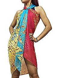 Xcellent Global Pareo de playa vestido para baño bikini bufanda con hebilla,Rojo&Azul BT010R