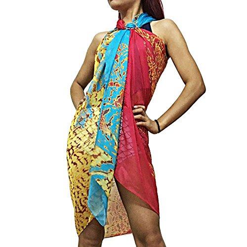 Xcellent Global Sarong Strandtuch Kleid Badeanzug Bikini Wickelschal Mit Schnalle, Red & Blue (Badeanzug Eines Das Tragen)