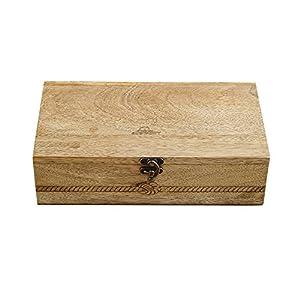 Rusticity Boîte à thé en bois/organiseur à épices avec couvercle–9slots–sculpté | fait à la main | (11x 6,5en)