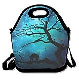 Luna lobo mágico árbol cerebro almuerzo bolsa bolso fiambrera para la escuela trabajo al aire...