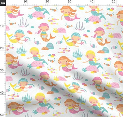 Meerjungfrau, Fisch, Muscheln, Ozean, Wasser, Rosa, Meer Stoffe - Individuell Bedruckt von Spoonflower - Design von Petite Circus Gedruckt auf Baumwoll Spandex Jersey Petite Spandex Jersey