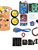 HEZHENGFENG Neue zu vermeidende Motorische Nachführung Smart Roboter Auto Chassis Kit Drehzahlgeber Akkubox 2WD Ultraschallmodul für ino Kit Elektronikmodul
